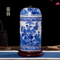景德镇陶瓷器青花瓷荷花花瓶摆设现代时尚家居饰品工艺品橱柜摆件