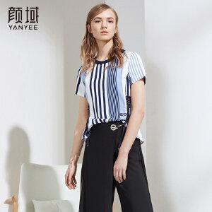 颜域2018夏季新款撞色条纹t恤女短款圆领时尚织带收腰体恤上衣女