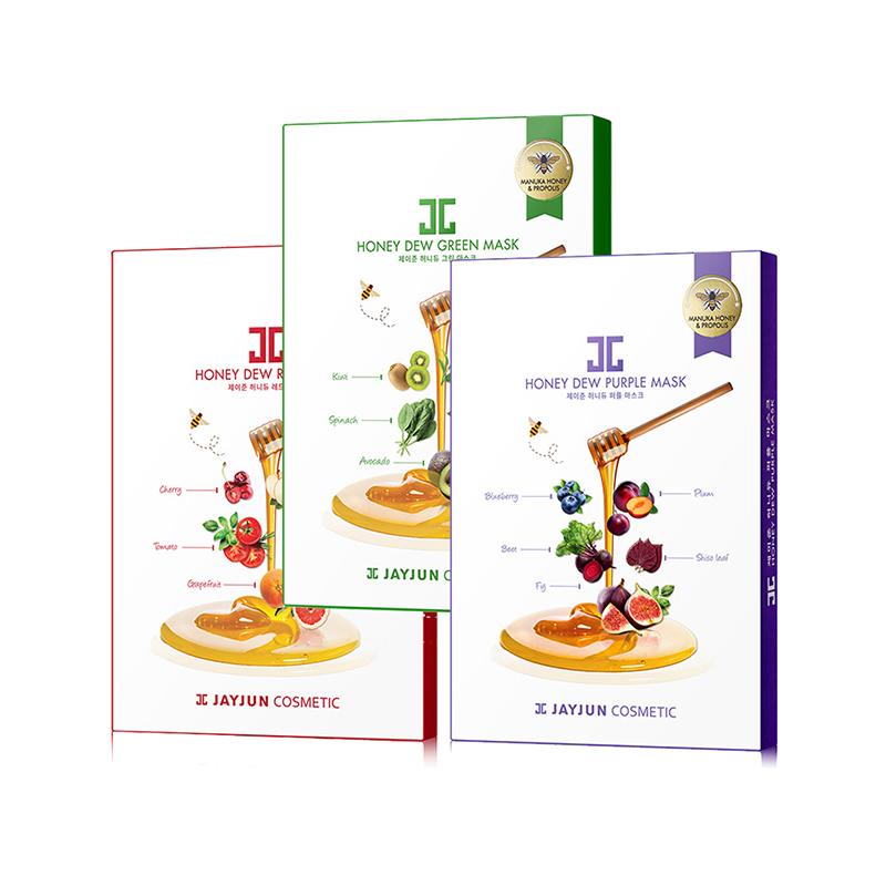 【三款组合装】水光 JAYJUN  新品麦卢卡蜂蜜 果蔬面膜   25ml*5片*3盒 (绿蔬+红果+紫莓)