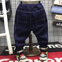 百搭牛仔小脚裤冬季新款男童车缝线加厚加绒松紧腰牛仔裤A-S4