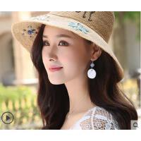 手工编织拉菲草帽女夏天海边防晒太阳帽大沿可折叠沙滩帽海边度假