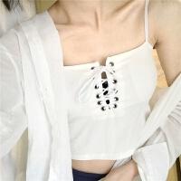 吊带背心女短款学生夏季内穿外穿百搭带胸垫性感小心机绑带上衣服 均码