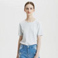 【3件1折价:39.9】MECITY女装夏简约潮小心机后背镂空针织短袖T恤