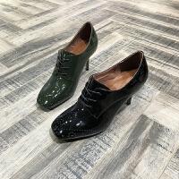 欧洲风格站2018春季新款单鞋女牛皮细跟浅口方头女鞋布洛克风女鞋
