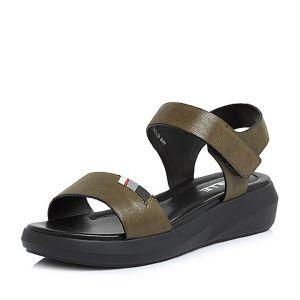 Belle/百丽2018夏季新款专柜同款珠光磨砂牛皮革厚底女皮凉鞋BQY31BL8