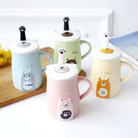 创意可爱*陶瓷马克杯带盖带勺咖啡杯牛奶情侣杯办公室卡通喝水杯子