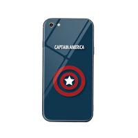 漫威复联苹果x美队iphonex雷神8plus钢铁侠6s/7p蜘蛛侠玻璃手机壳 iPhone6/6s 美国队长
