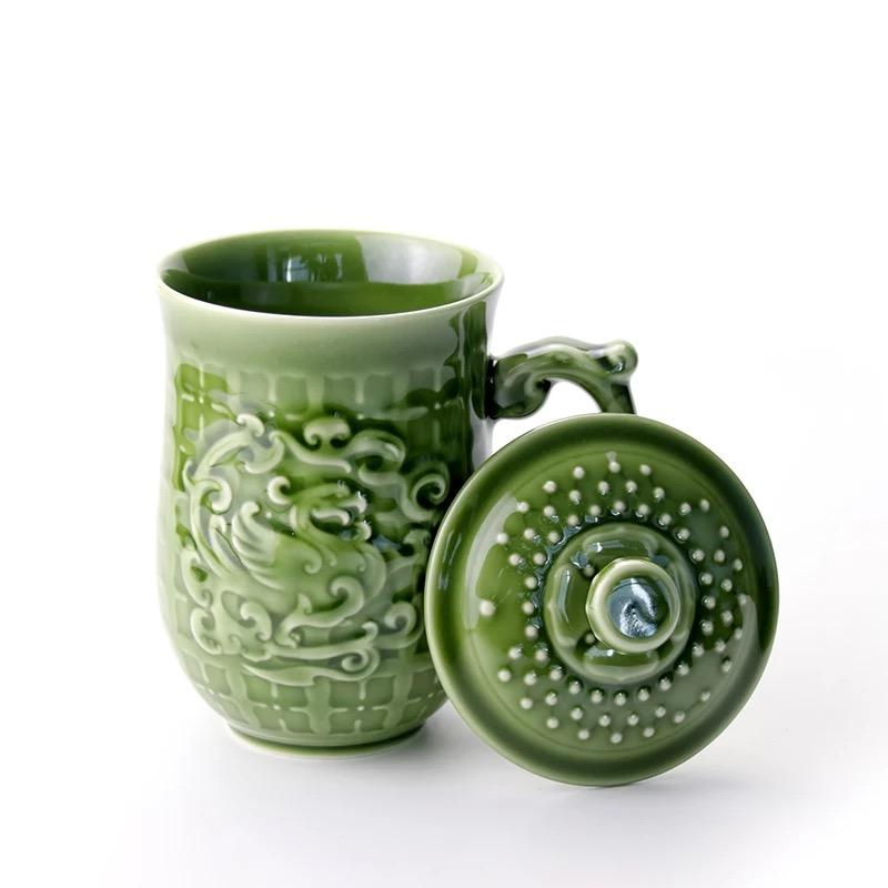乾唐轩活瓷杯喜凤来仪高杯办公室陶瓷茶水杯子办公杯子便携带盖女
