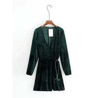 女装 春装新款欧美范时尚显瘦收腰系带V领天鹅绒睡衣风连衣裙