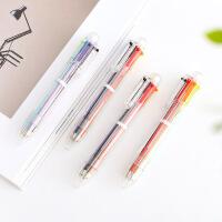 可爱卡通多色圆珠笔韩国创意学生伸缩笔彩色个性油笔6色笔芯