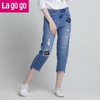 【5折价144】Lagogo2018夏季新款九分裤时尚裤子高腰学院风高腰显瘦 牛仔裤女HANN414A44