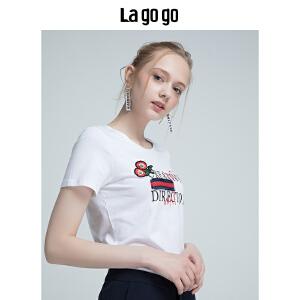 Lagogo2018年夏季新款女装圆领短袖上衣宽松印花白色T恤潮chic HATT315Y01