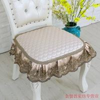 欧式加大餐椅垫套装防滑椅垫餐桌布艺四季坐垫中式椅子坐垫凳子垫 卡其色 一世情缘