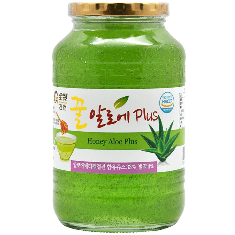 全贤 蜂蜜芦荟茶1kg 韩国原装进口芦荟酱冲饮蜜炼茶果肉饮料