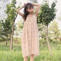 20180829181941340韩版时尚休闲套装春夏女装小清新中长款短袖T恤+蕾丝吊带裙两件套 均码