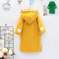 韩版童装女童韩国冬季新款儿童爱心加绒卫衣七分袖连衣裙B9-T18