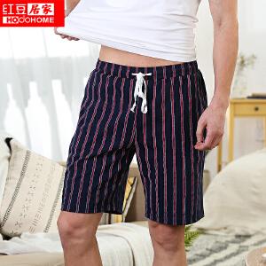 红豆居家情侣短裤男女士春夏柔棉沙滩休闲家居裤 枣红条