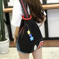牛津布双肩包女士胸包韩版时尚潮尼龙旅行包防盗背包书包 黑色
