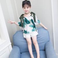 女童夏装新款套装韩版儿童装一字肩露肩两件套洋气时髦夏季潮