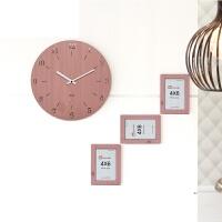 家用简约现代时尚个性卧室静音挂表钟表挂钟客厅创意时钟 粉红色 赠送相框