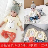 宝宝春装0一1岁小孩衣服婴幼儿纯棉套装6-个月外出新生儿潮