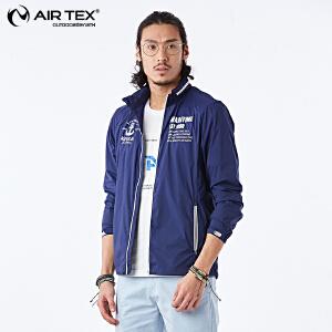 AIRTEX亚特男士登山运动防晒透气钓鱼服轻便超薄防水隐藏帽皮肤风衣