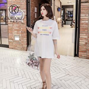 欧若珂  2018学院风渐变印花T恤夏宽松女圆领韩版字母短袖上衣女