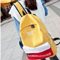 帆布字母书包新款中学生学院风撞色女式双肩背包