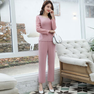 风轩衣度 套装/套裙舒适修身纯色气质韩版简约宽松长袖2018年春季新款 G10