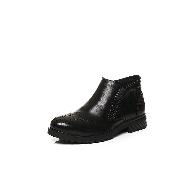 Belle/百丽冬季专柜同款黑色牛皮革男皮靴(绒里)4NU02DD6
