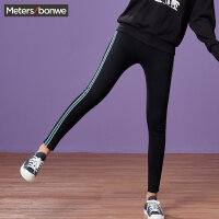 【全场2件2.5折,到手价:49.8】美特斯邦威牛仔裤女秋季新款学生中腰时尚织带紧身显瘦小脚裤