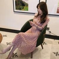 新款女装2019夏法式大码洋气中袖雪纺长裙子显瘦很仙的波点连衣裙
