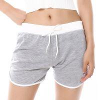 夏季跑步运动沙滩短裤 女士薄款居家糖果色三分开叉裤