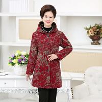 中老年女棉衣中长款老人秋冬装新款加绒加厚棉袄妈妈气质外套 红色 1号色