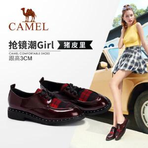 Camel/骆驼女鞋 2018秋季新款时尚酷感格子拼接铆钉低跟单鞋女