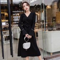 大码女装微胖mm2019春装名媛收腰系带chic小黑裙针织连衣裙 黑色