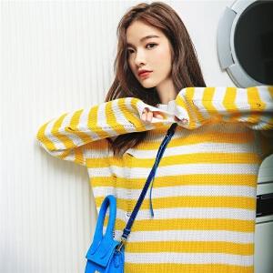 七格格条纹针织上衣秋装女2018新款韩版中长款chic罩衫薄款复古毛衣宽松