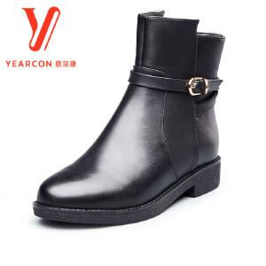意尔康女靴2017秋冬新款圆头扣带低筒切尔西靴加绒保暖踝靴