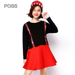【不退不换】PASS冬装新款修身打底裙子个性时尚假两件学生收腰长袖连衣裙