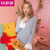 【满200减100】Lagogo/拉谷谷2017冬季新款直筒圆领连衣裙GCLL459C31