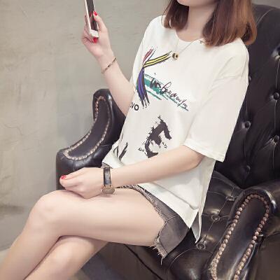 JA14重工刺绣蜂鸟印花字母春夏季圆领套头宽松T恤衫女qf12 X