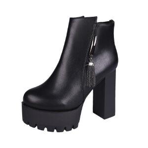 WARORWAR新品YM163-801秋冬韩版粗跟高跟水台女士靴子切尔西靴短靴