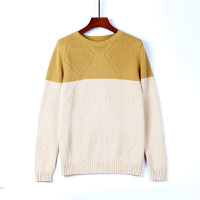 冬季男士毛衣圆领韩版个性撞色加厚打底毛线衣潮流长袖针织衫男装