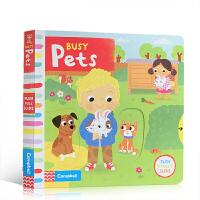 英文原版绘本 Busy Pets 忙碌的宠物 趣味推拉转机关操作书玩具纸板书 儿童启蒙英语 亲子互动 锻炼手部发育 色