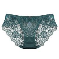 舒适内裤女蕾丝诱惑中低腰火辣性感透气三角镂空裤衩墨绿色