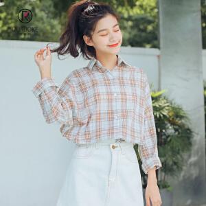 欧若珂 2018秋季新款韩版复古简约百搭宽松格子长袖衬衫衬衣女