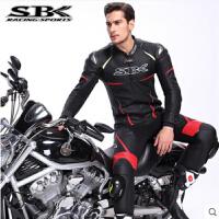 正品SBK连体皮衣摩托车骑行服装备机车皮衣男 赛车服套装防摔衣冬