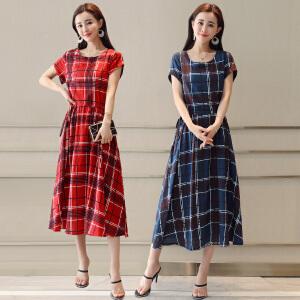 风轩衣度 格子圆领套头大摆型2018年夏季短袖连衣裙中长款修身显瘦 2521-1825