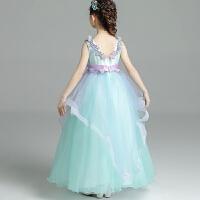 蓝色女童公主裙儿童蓬蓬纱夏季演出服花童荷叶边婚纱礼服 绿色