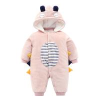 婴儿连体衣服秋冬装套装女0夹棉衣1岁外出抱衣幼儿加厚网红宝宝男 粉色 小恐龙